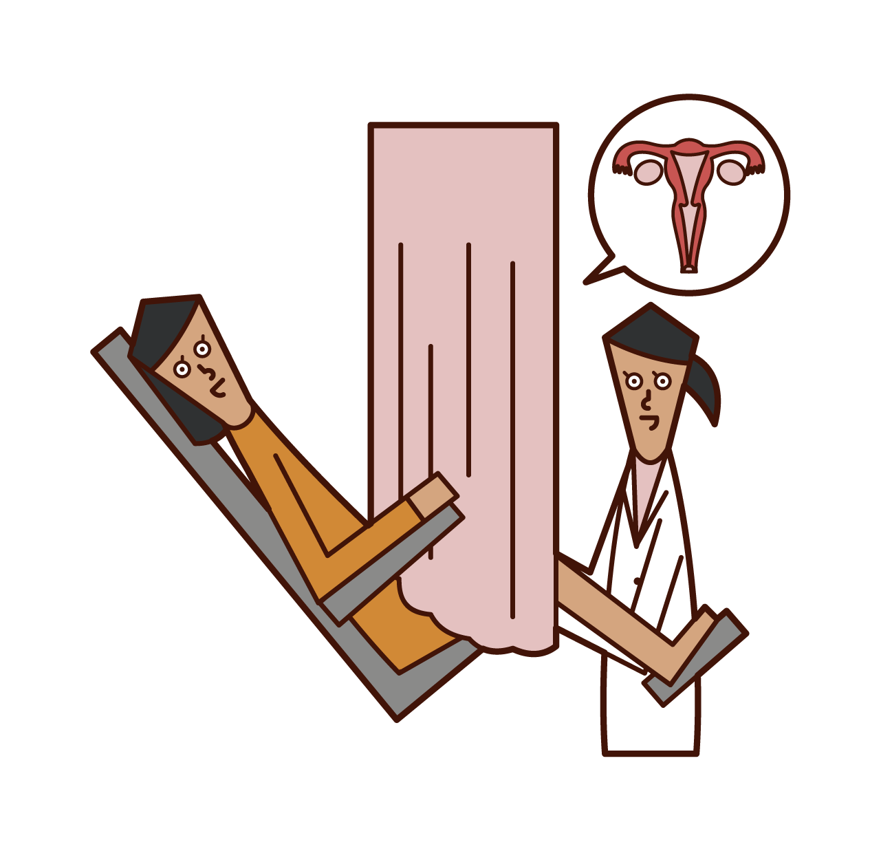 Illustration of cervical cancer screening (woman)