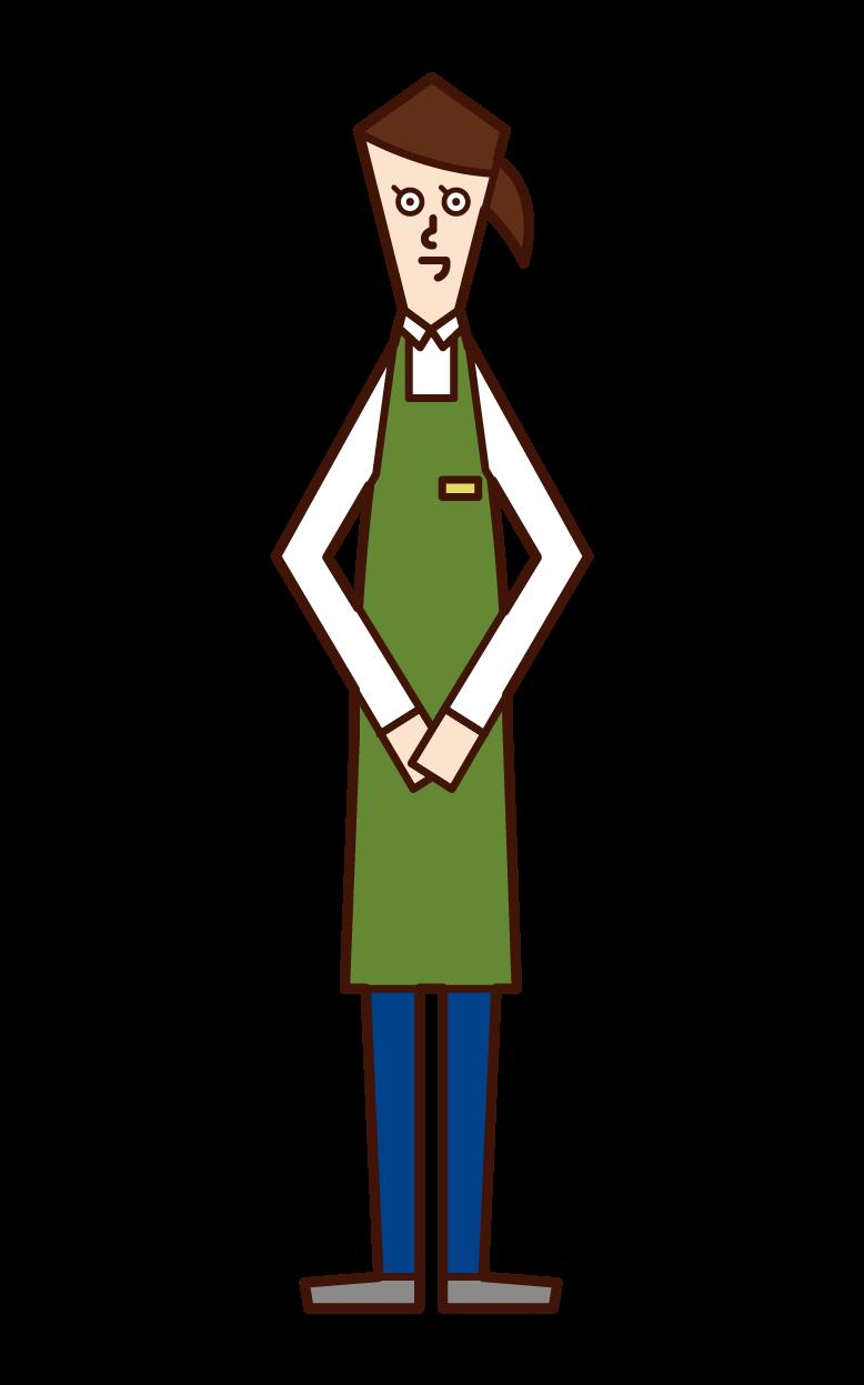 店員(女性)のイラスト
