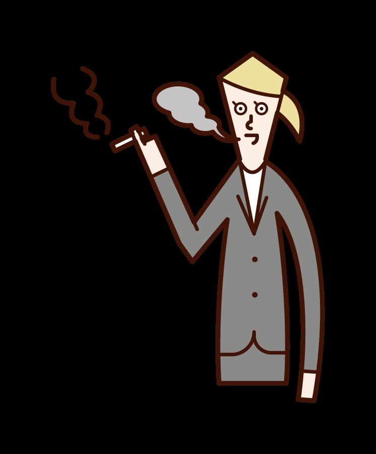 흡연자 (여성)의 그림