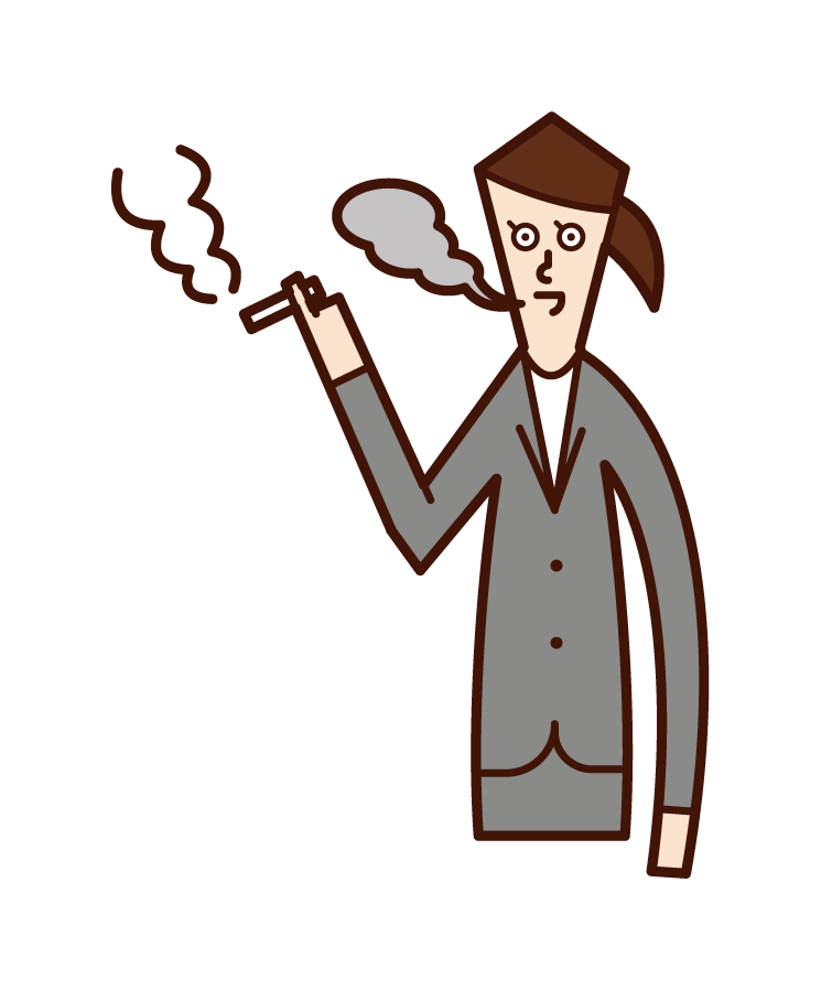 Illustration of a working person (woman) smoking