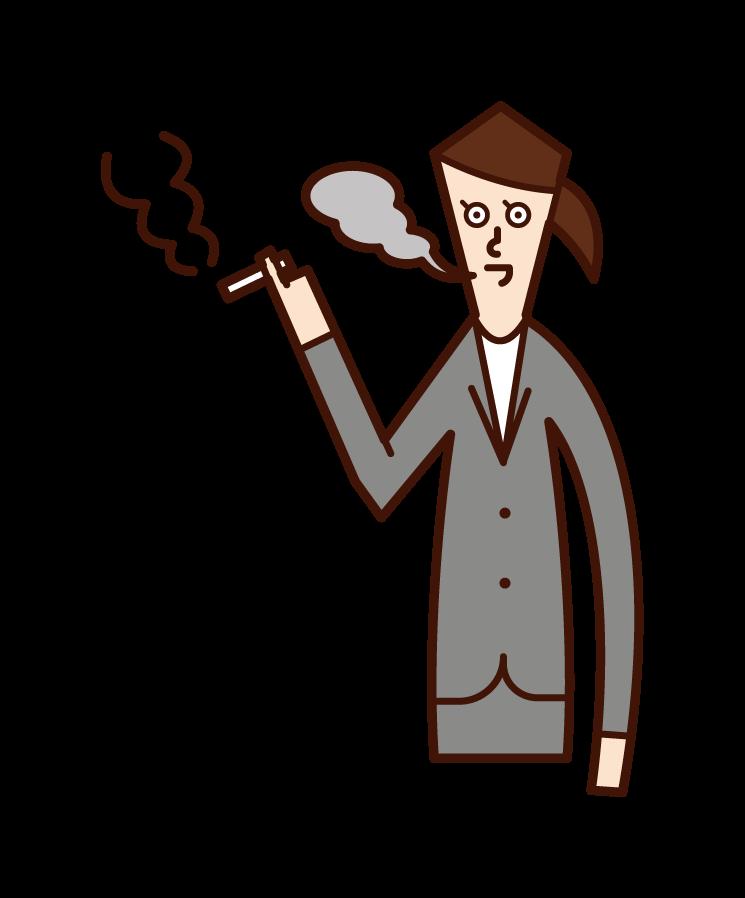 喫煙を不快に感じる人(男性)のイラスト