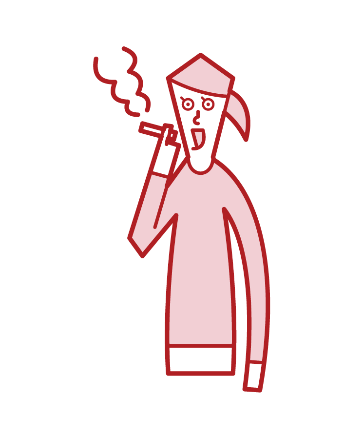 Illustration of a woman smoking deliciously