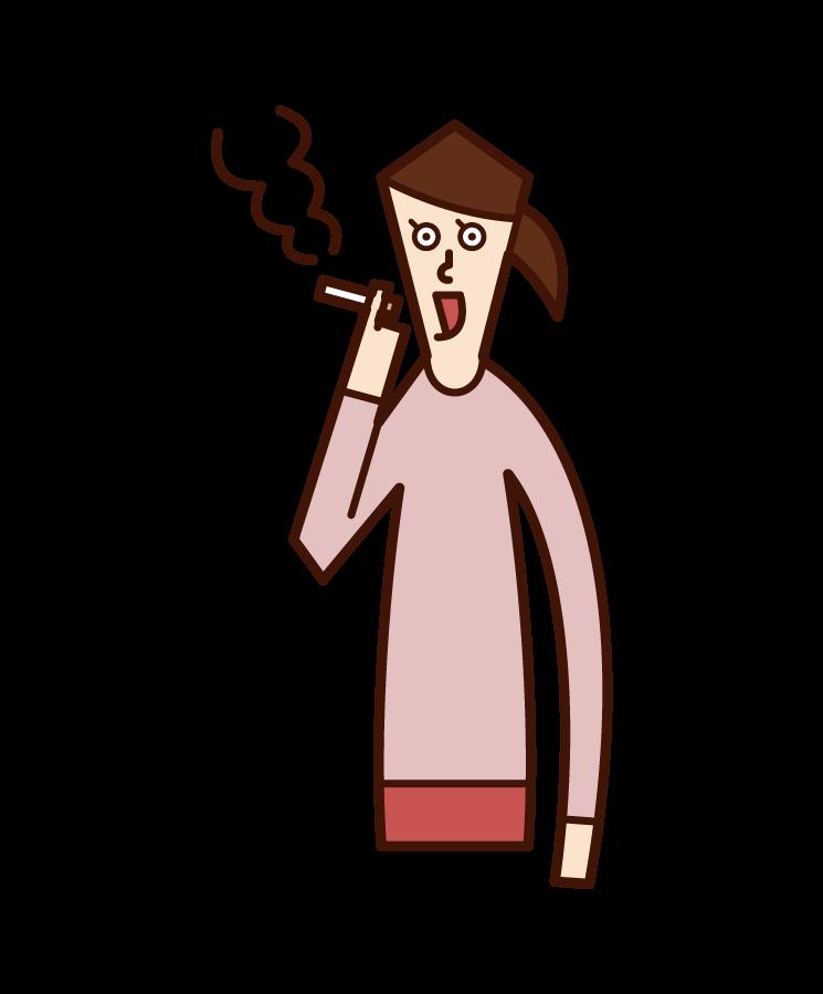 美味しそうに喫煙をする人(男性)のイラスト