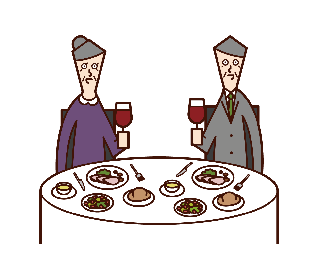 Illustration of an elderly couple eating deliciously in a restaurant