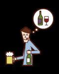 アルコール中毒の人(男性)のイラスト