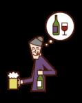 アルコール中毒の老人(女性)のイラスト