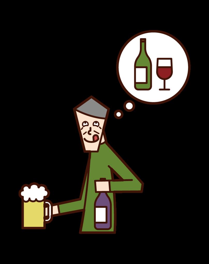 酗酒老人的插圖