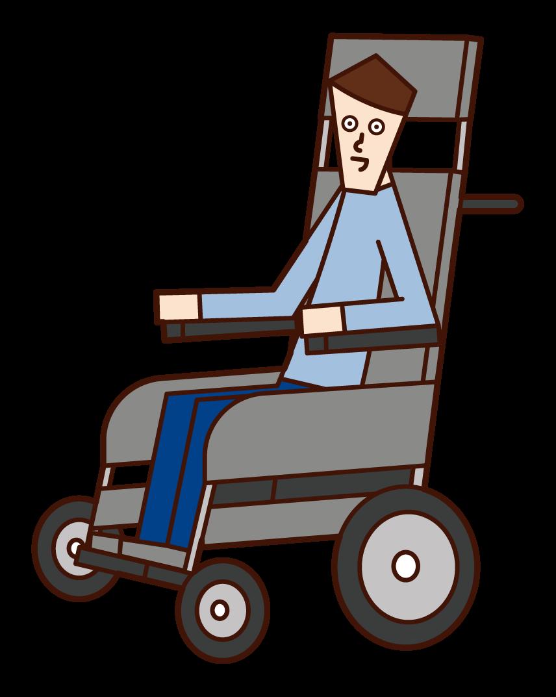 電動車椅子に乗る人(男性)のイラスト
