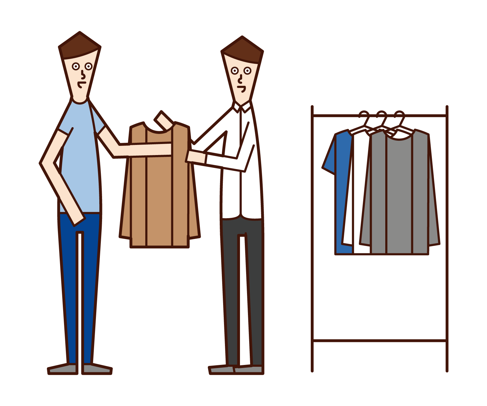 Illustration of stylist and apparel clerk (man)