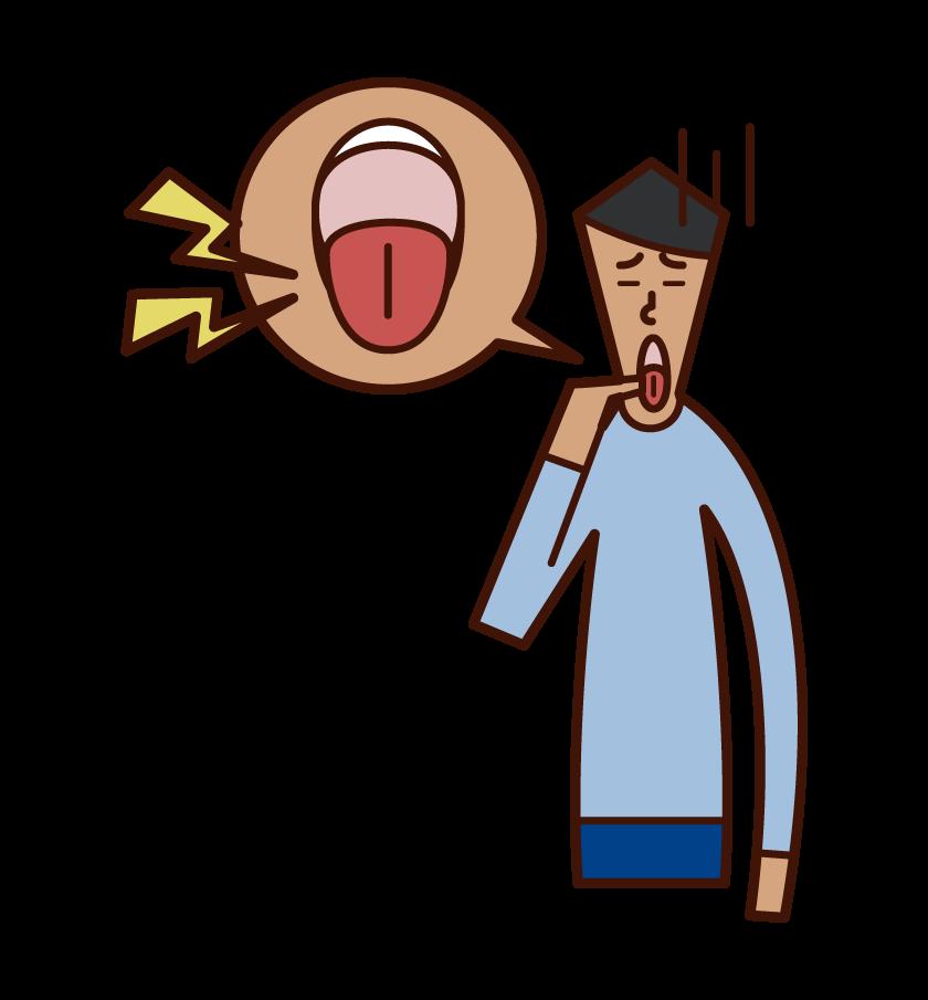舌の病気・舌の痛み(男性)のイラスト