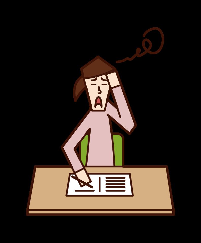 学習障害(女性)のイラスト