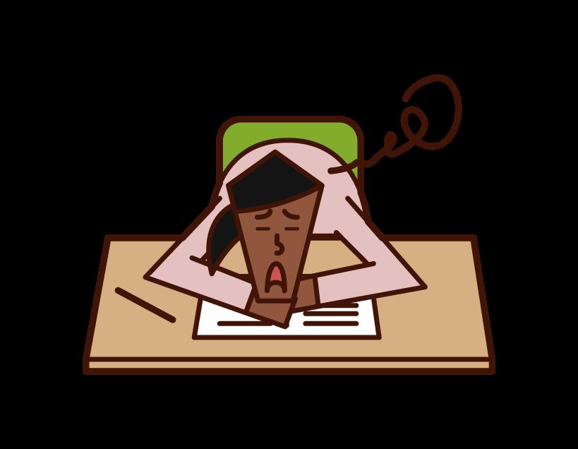 勉強が嫌いな人(女性)のイラスト