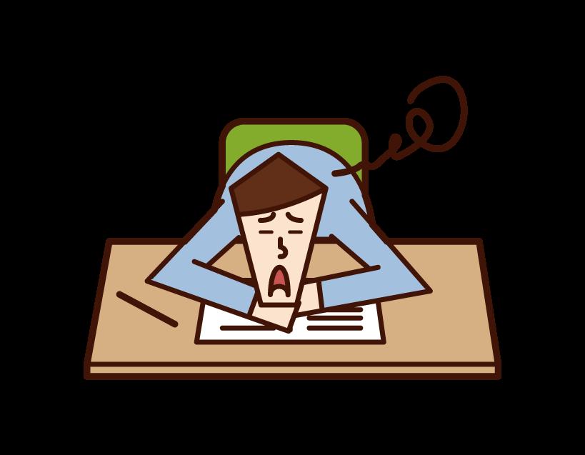 勉強が嫌いな人(男性)のイラスト