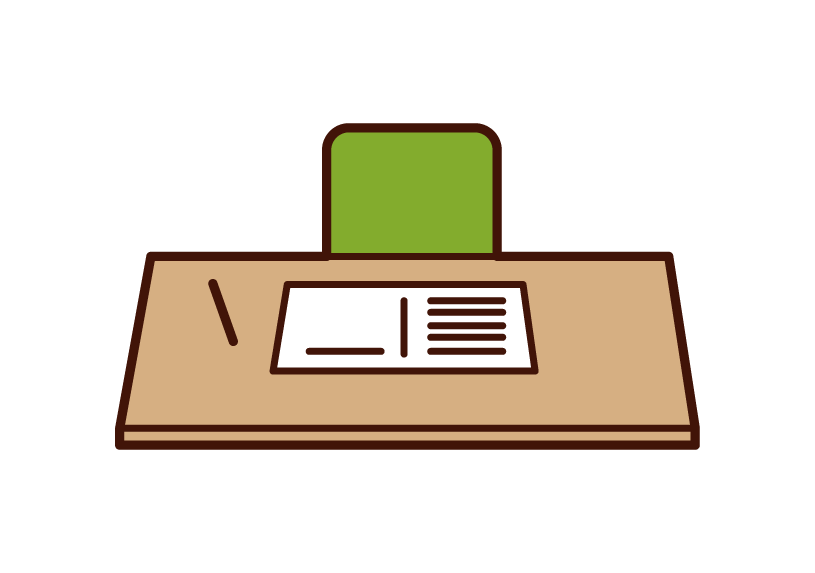 Illustration of study desk