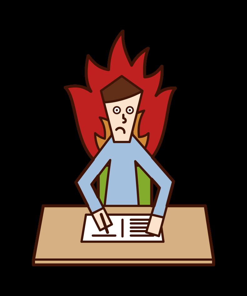 熱心に勉強する人(男性)のイラスト