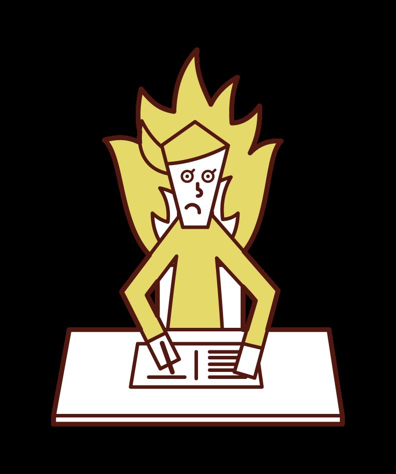 熱心に勉強する人(女性)のイラスト