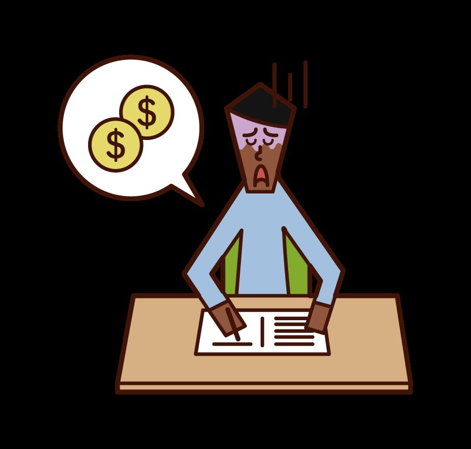 家計簿をつける人(男性)のイラスト
