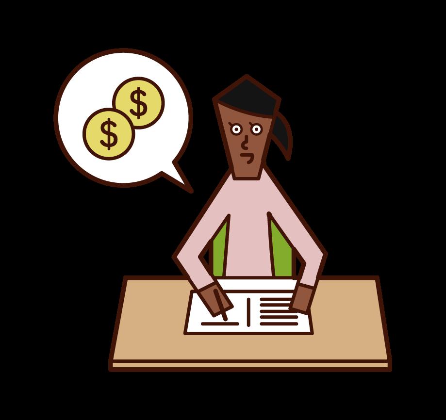 家計簿をつける人(女性)のイラスト