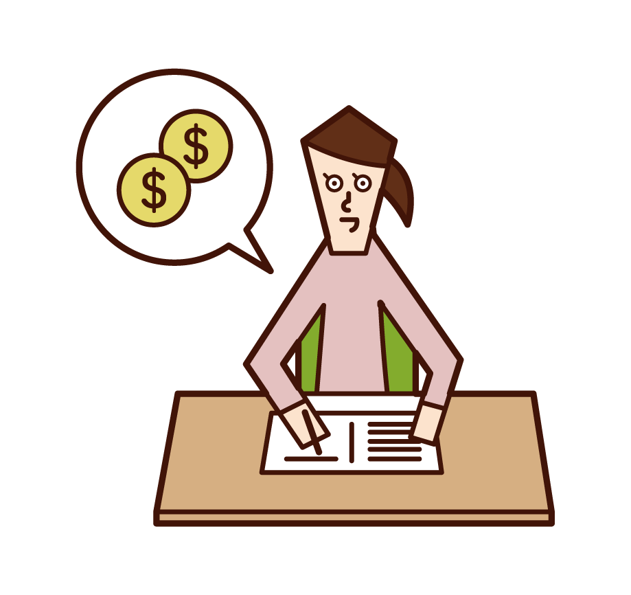Illustration of a woman who keeps a household account book