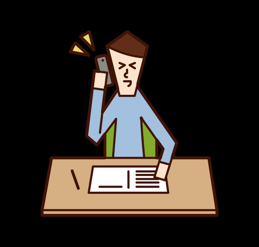 勉強中に電話をする人(男性)のイラスト