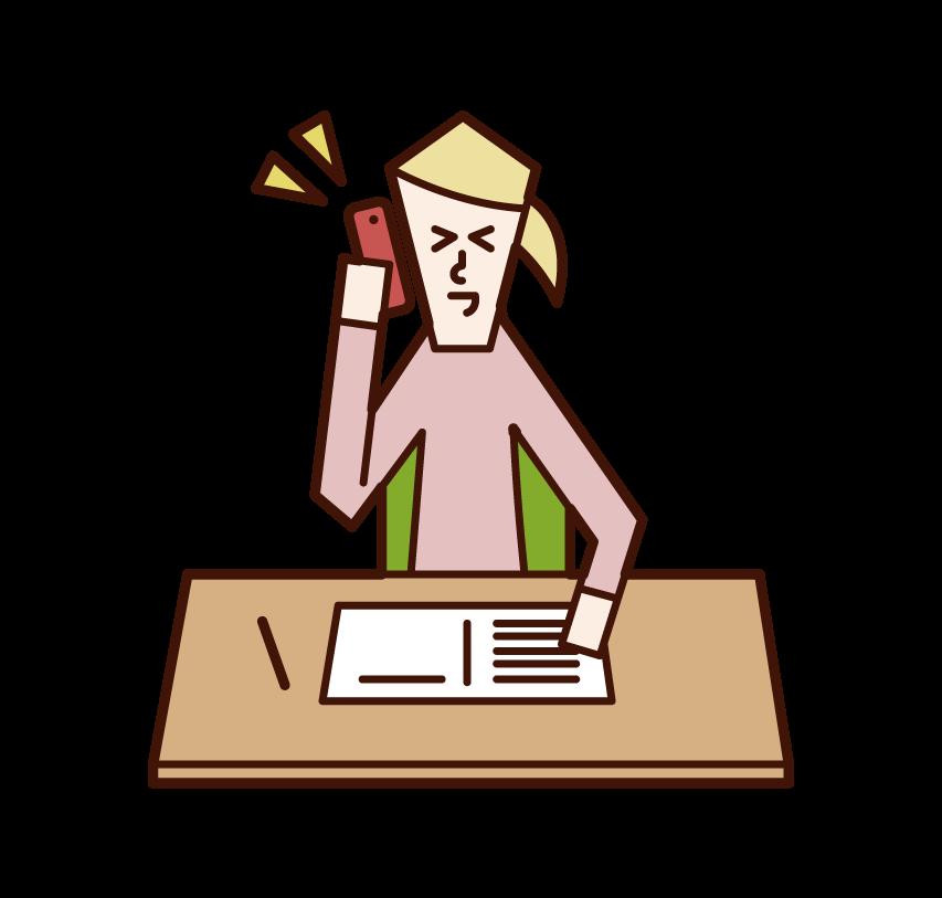 勉強中に電話をする人(女性)のイラスト