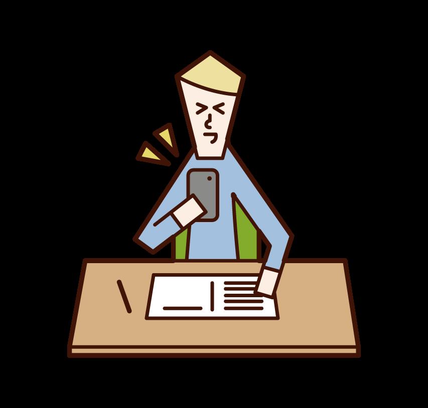 勉強中にスマートフォンを操作する人(男性)のイラスト