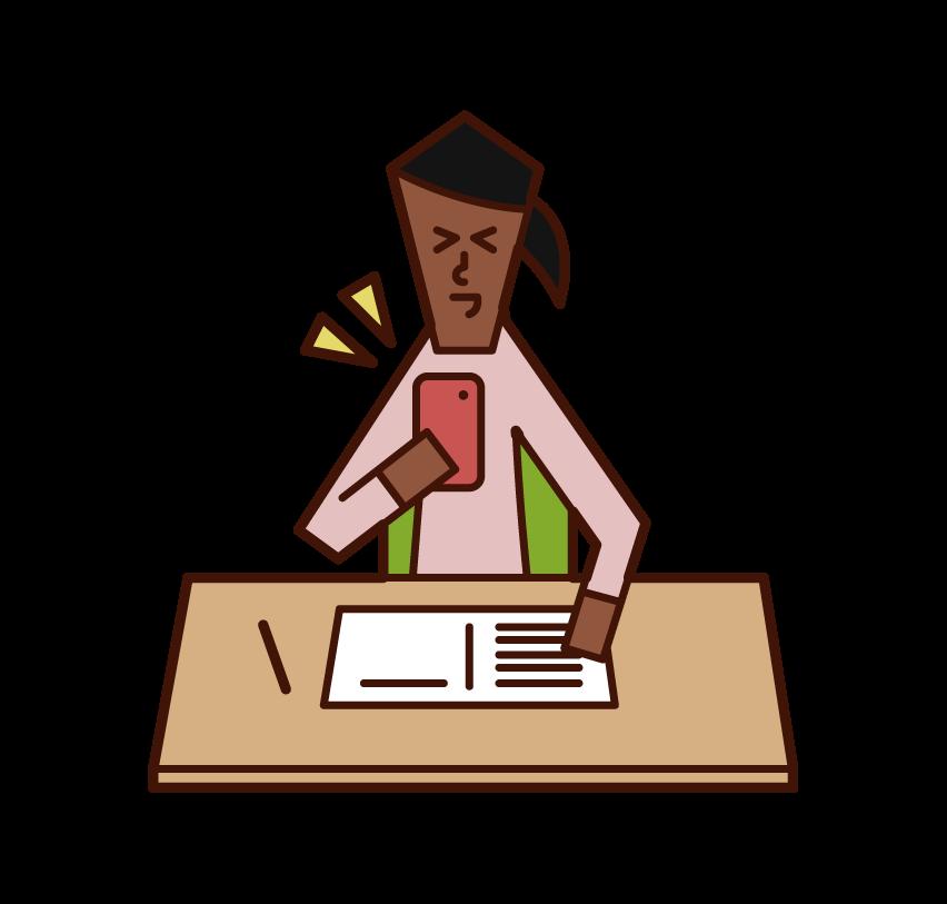勉強中にスマートフォンを操作する人(女性)のイラスト