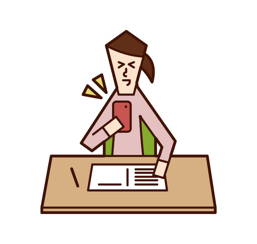 Illustration of a woman operating a smartphone while studying