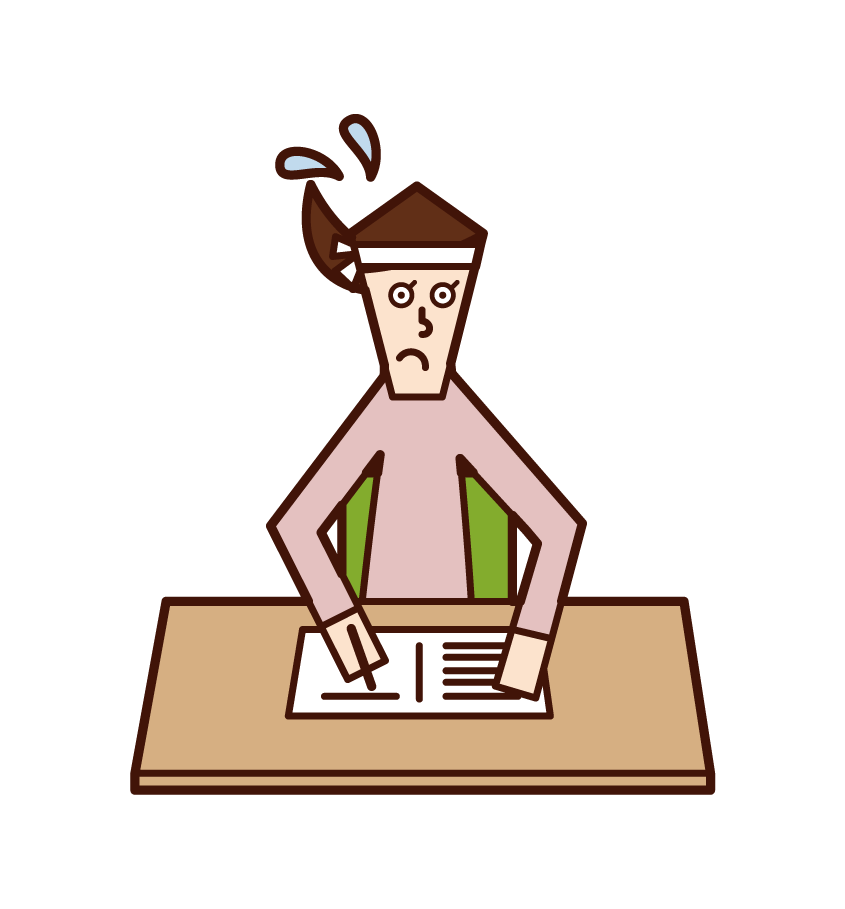 Illustration of a person (woman) studying for the examination