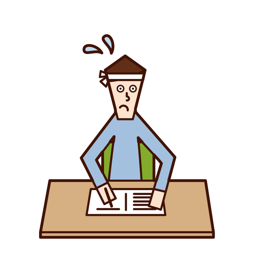Illustration of a person (man) studying for the examination
