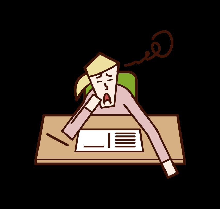 勉強のやる気がでない人(女性)のイラスト