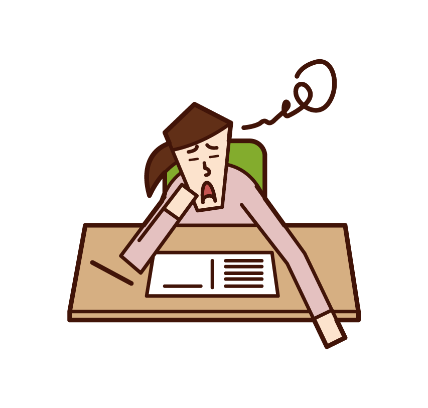 Illustration of a person (woman) who is not motivated to study