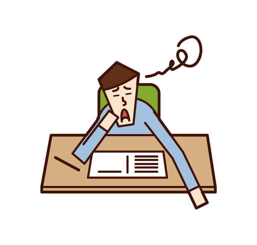 Illustration of a person (man) who is not motivated to study