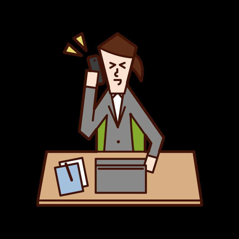 仕事で電話をする人(女性)のイラスト