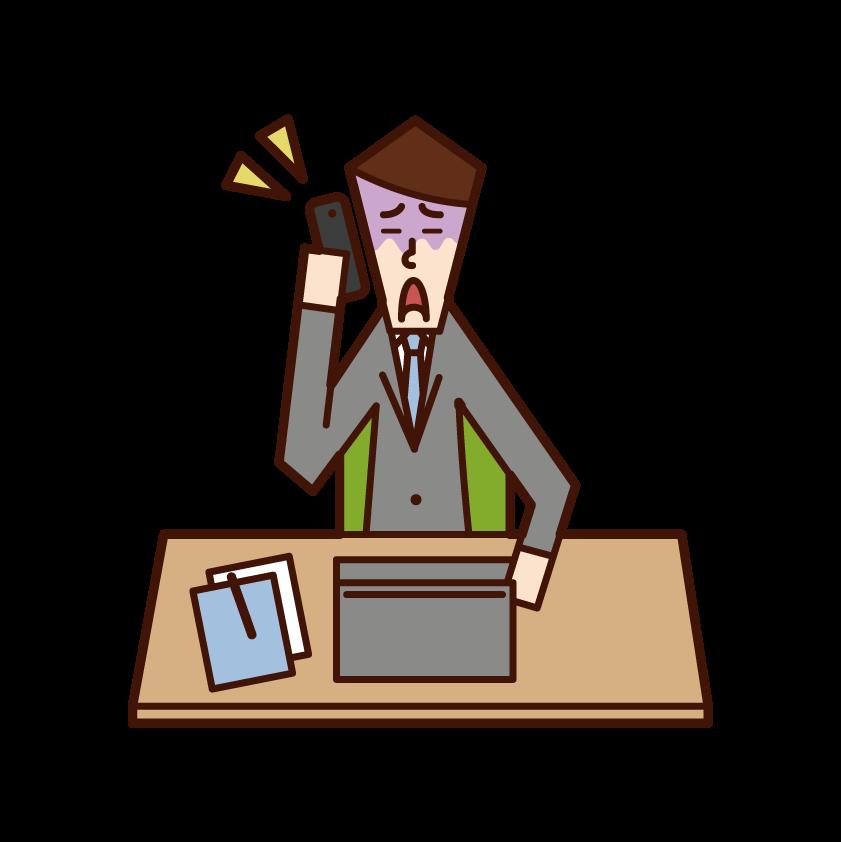 仕事で電話をする人(男性)のイラスト