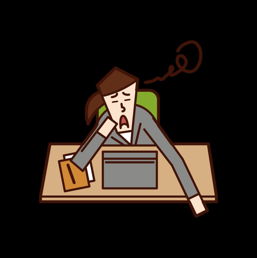 仕事が嫌いな人(女性)のイラスト