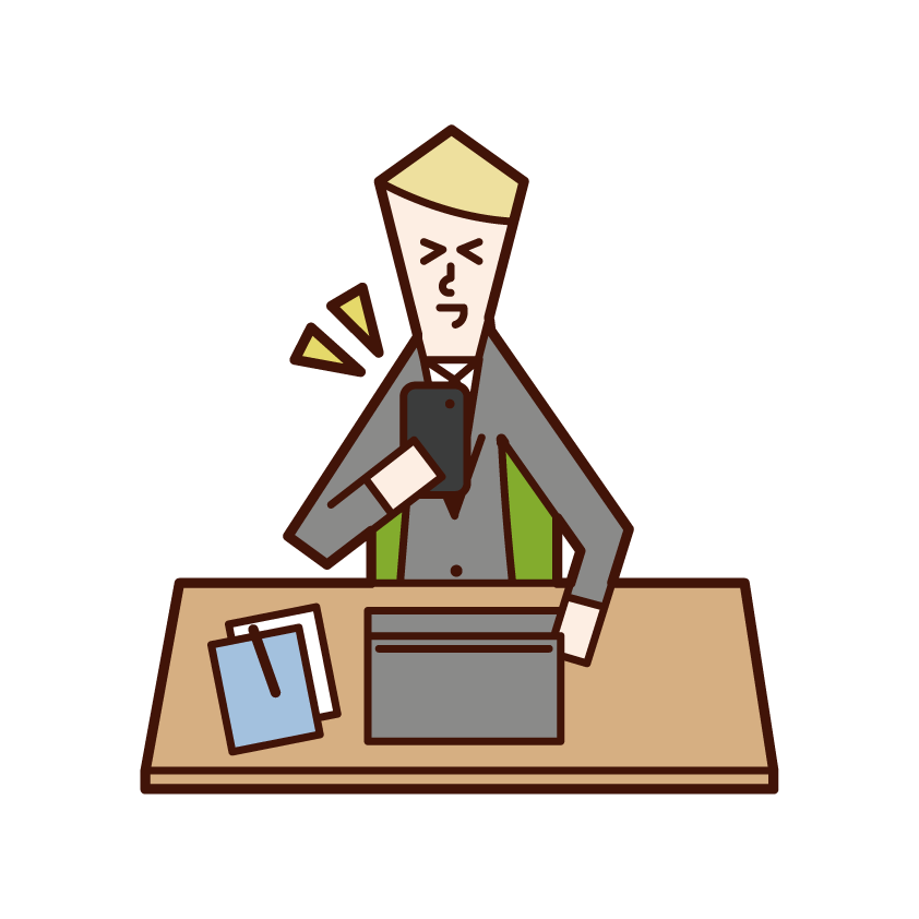 仕事中にスマートフォンを操作する人(男性)のイラスト