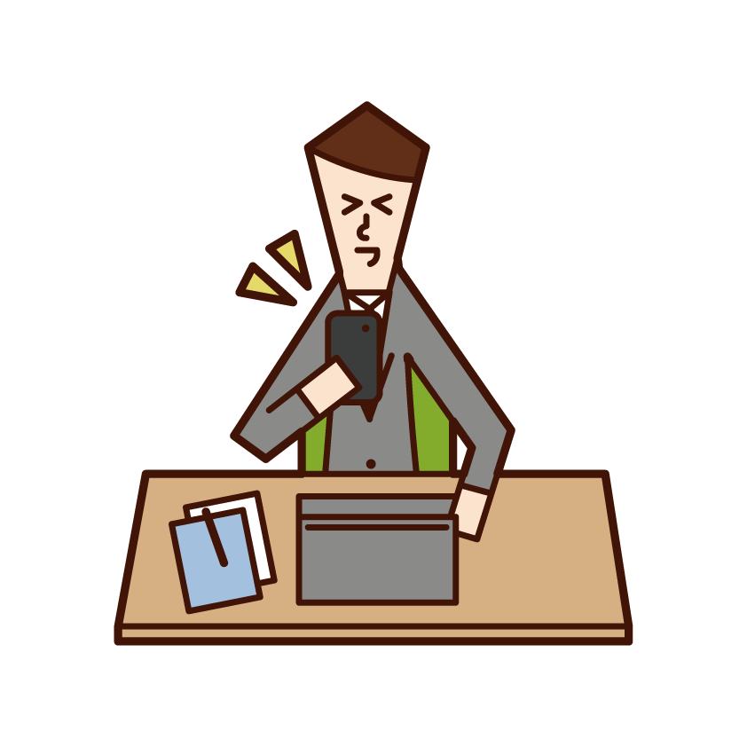 Illustration of a man operating a smartphone while at work