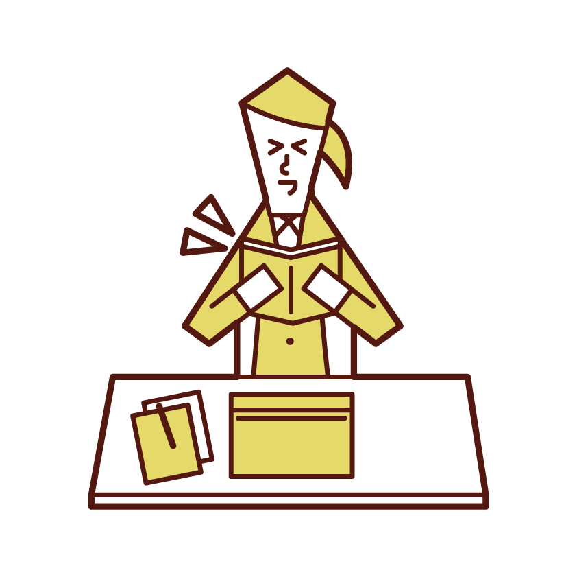 仕事中に本や漫画を読む人(女性)のイラスト