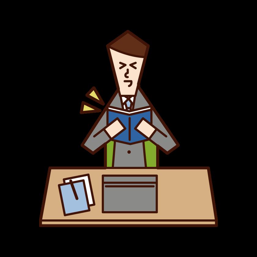 仕事中に本や漫画を読む人(男性)のイラスト