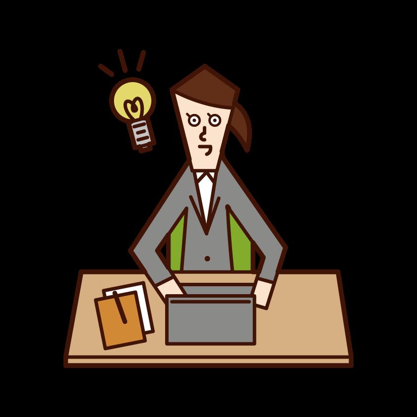 仕事で良いアイデアが閃いた人(女性)のイラスト