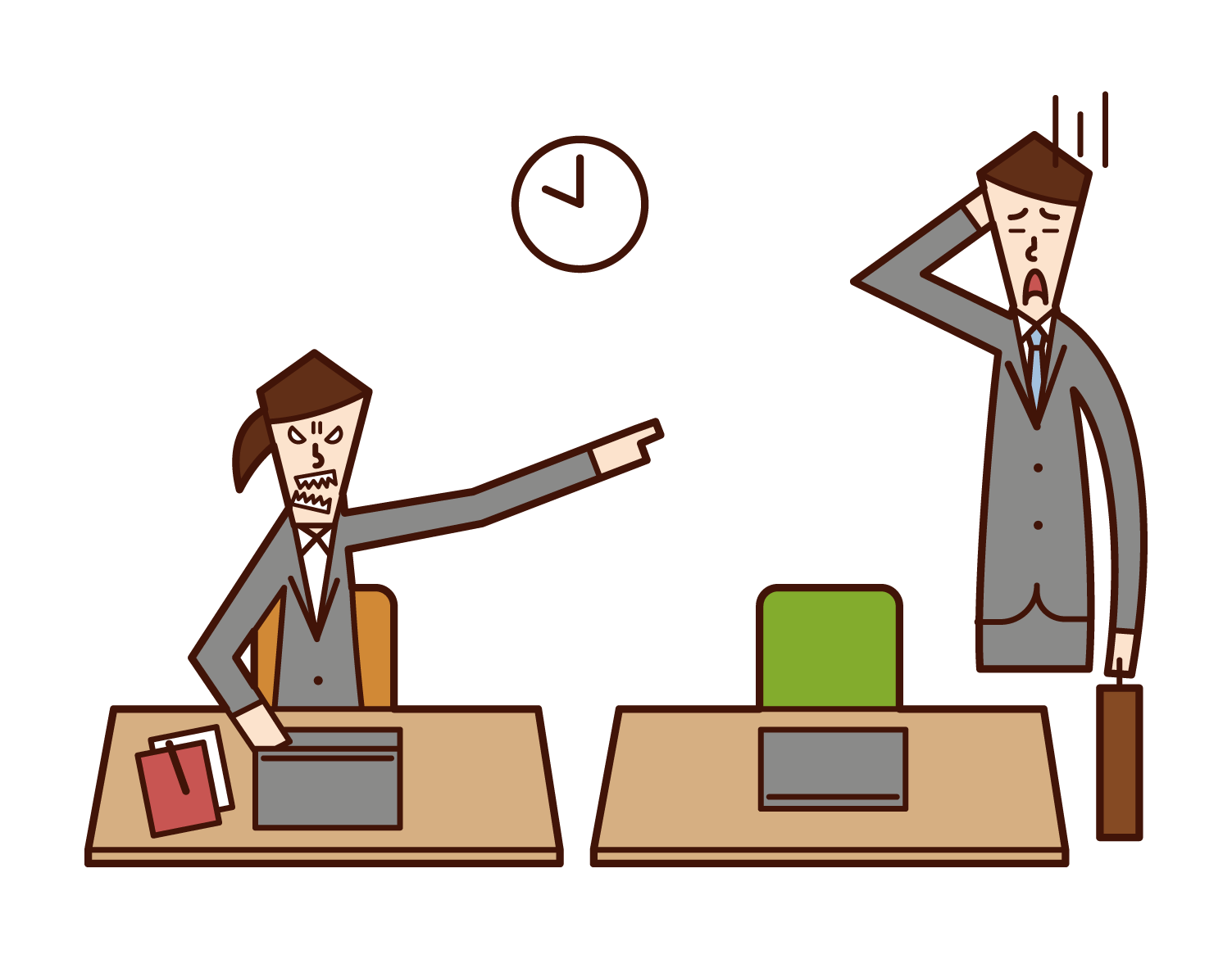 Illustration of a man who came to work late