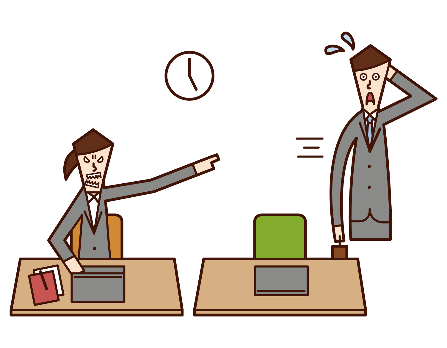 Illustration of a person (woman) forcing overtime work