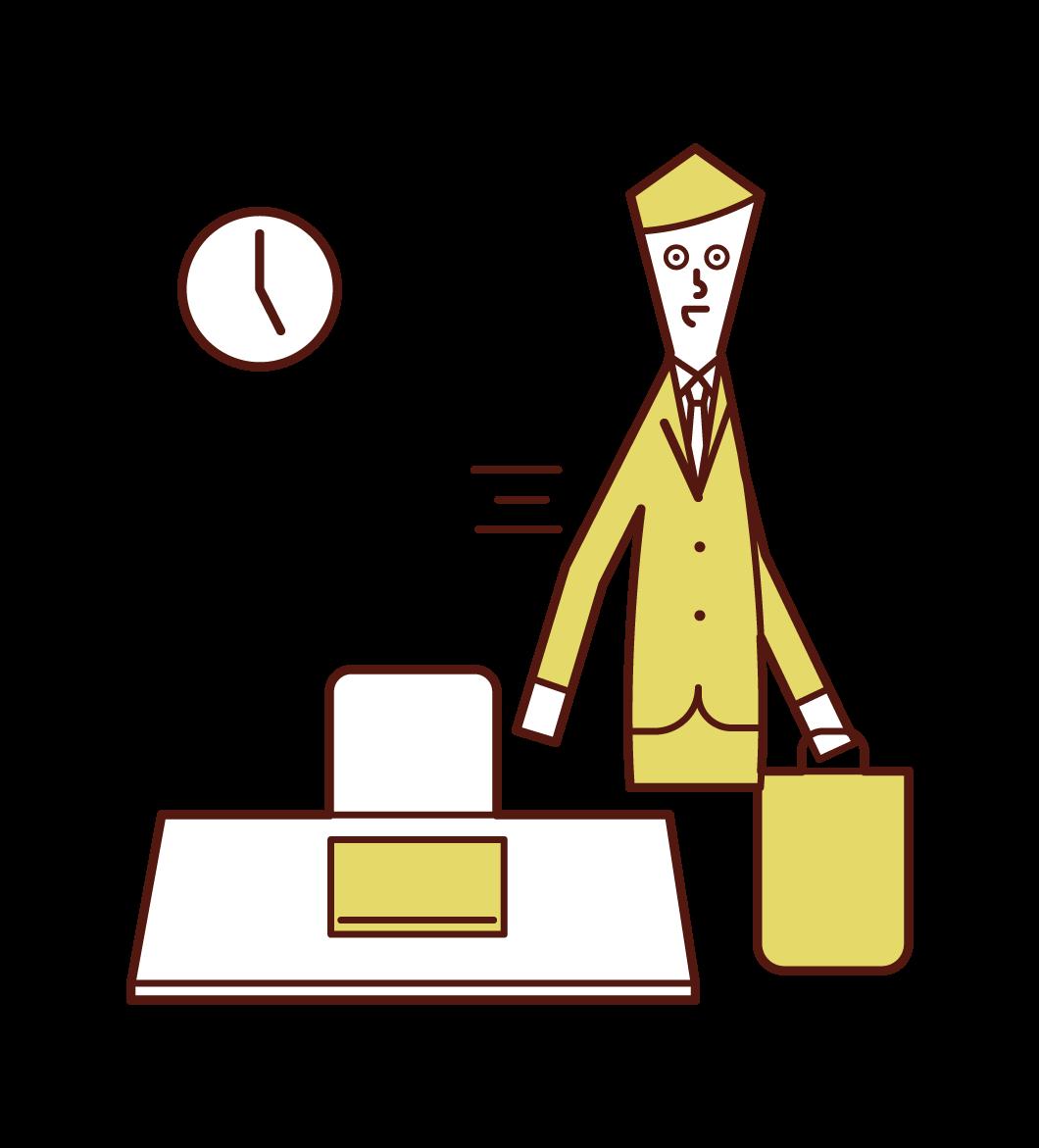 退社する人(男性)のイラスト
