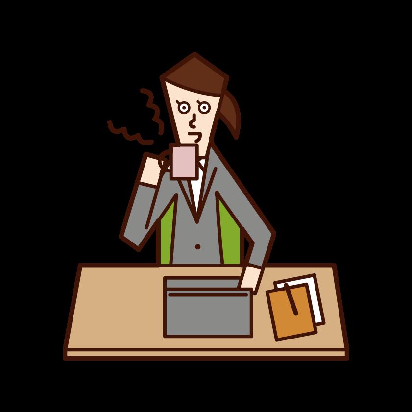 仕事をしながらコーヒーを飲む人(女性)のイラスト