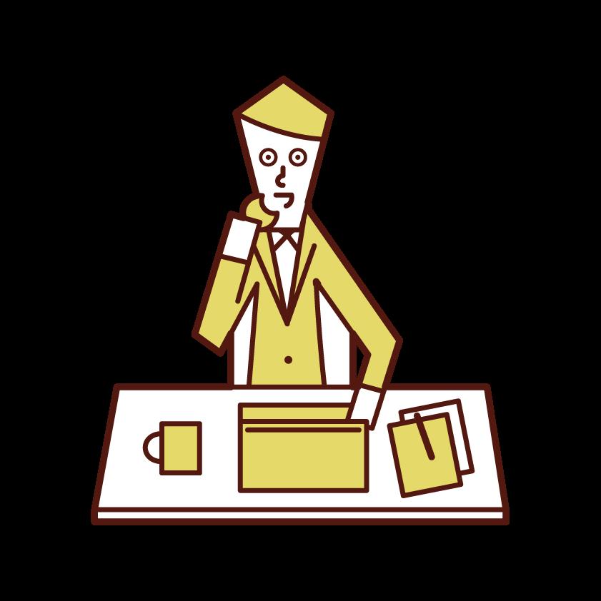 仕事をしながらお菓子を食べる人(男性)のイラスト