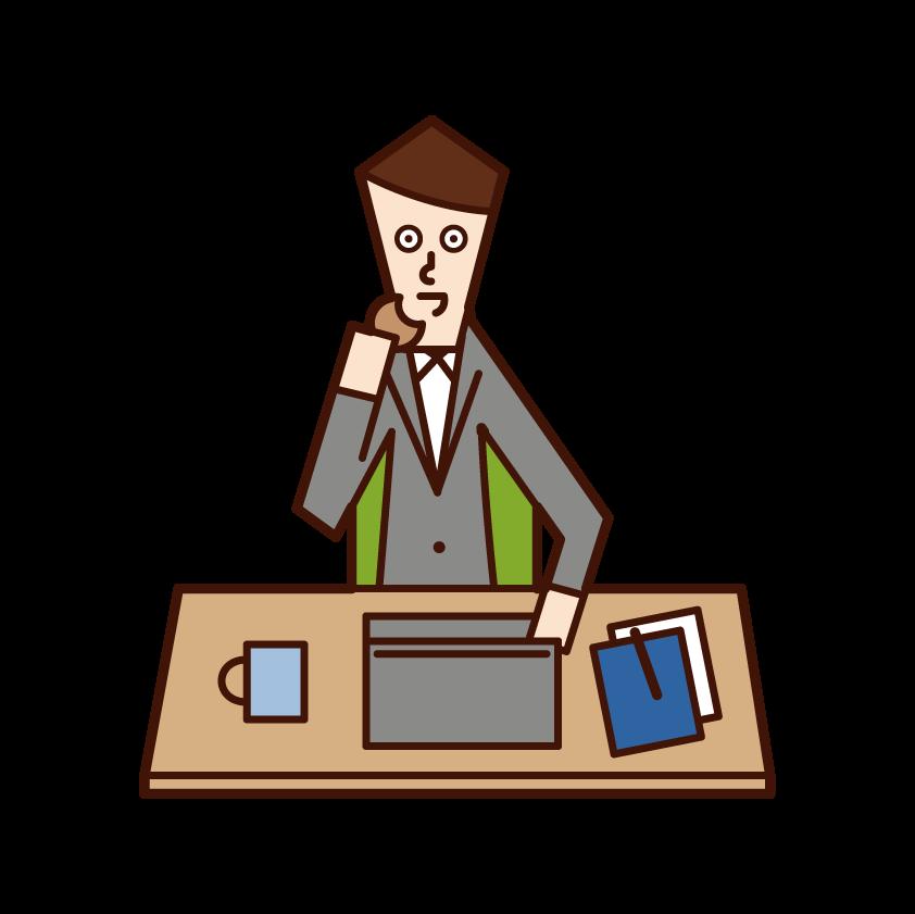 残業を強要する人(男性)のイラスト