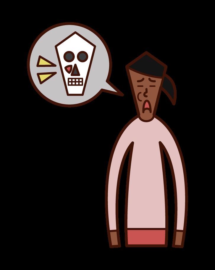 上顎洞がん(女性)のイラスト
