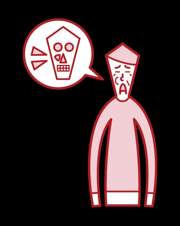 上顎洞がん(男性)のイラスト