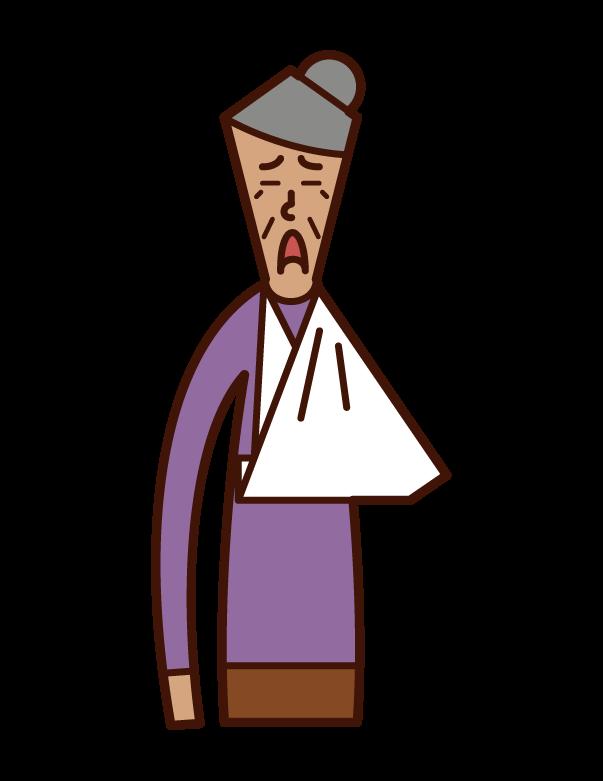 腕を骨折した老人(女性)のイラスト